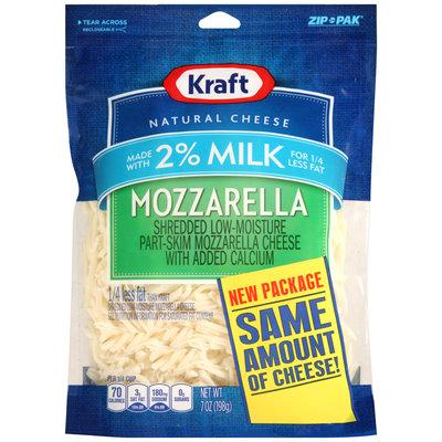 Kraft Shredded Mozzarella Cheese Made with 2% Milk 7 oz. ZIP-PAK®