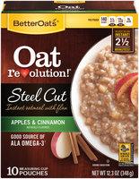 BetterOats® Oat Revolution!® Steel Cut Apples & Cinnamon Instant Oatmeal with Flax 10 ct Box