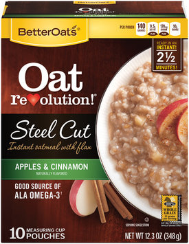 BetterOats® Oat Revolution!® Steel Cut Apples & Cinnamon Instant Oatmeal with Flax 10 ct Box