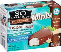 So Delicious® Dairy Free Coconut Milk Minis Non-Dairy Frozen Dessert Vanilla Bars 4-2.3 fl. oz. Bars