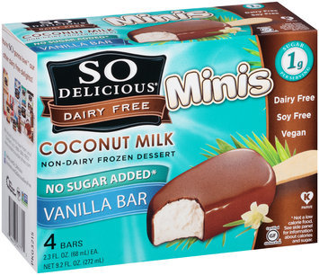 So Delicious® Dairy Free Coconut Milk Minis Non-Dairy Frozen Dessert Vanilla Bars 4-2.3 fl. oz. Bars