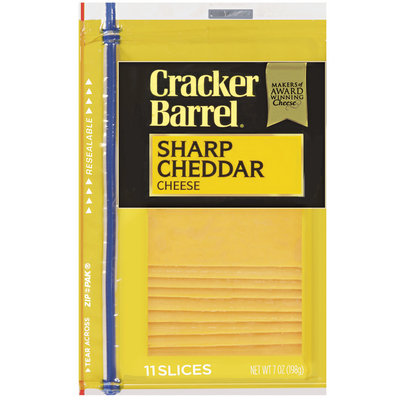 Kraft Cracker Barrel® Cheddar Sharp Cheese Slices 11 Ct 7 Oz Zip Pak