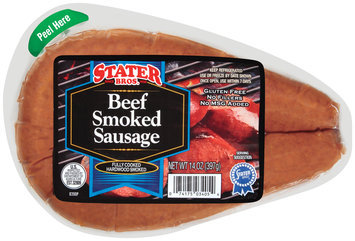 Stater Bros. Beef Smoked Sausage 14 Oz Wrapper