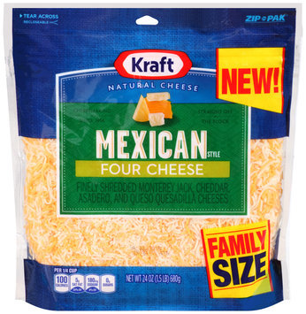 Kraft Shredded Finely Shredded Mexican Style Four Cheese Cheese 24 oz. Pouch