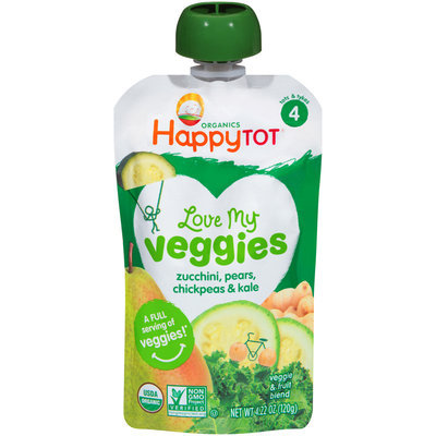 Happy Tot® Organic Love My Veggies Zucchini, Pears, Chickpeas & Kale Veggie & Fruit Blend 4.22 oz. Pouch