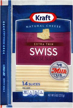 Kraft Natural Cheese Extra Thin Swiss Cheese Slices 14 ct ZIP-PAK®