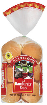 Cottage Hearth 12 Ct Buns Hamburger 24 Oz Bag