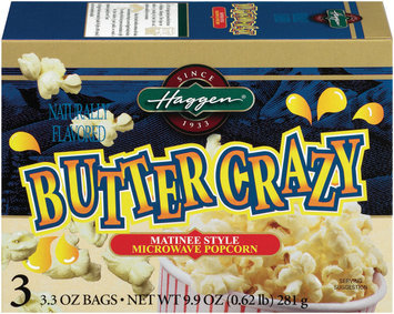 Haggen Butter Crazy Matinee Style 3.3 Oz Bags Microwave Popcorn 3 Ct Box