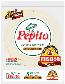 Pepito Flour Soft Taco Size 12 Oz Tortillas 8 Ct Bag