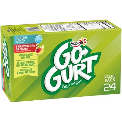 Yoplait® Go-Gurt® Cotton Candy/Strawberry Banana Portable Low Fat Yogurt Variety Pack Tubes