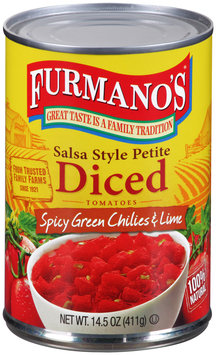 Furmano's® Salsa Style Petite Diced Tomatoes with Spicy Green Chilies & Lime 14.5 oz. Can