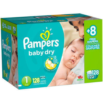 Baby Dry Pampers Baby Dry Newborn Diapers Size 1 Bonus Pack 128 Count