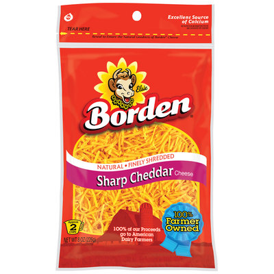Borden Finely Shredded Sharp Cheddar Cheese 8 Oz Peg