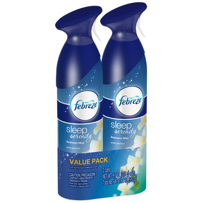 Febreze Sleep Serenity Quiet Jasmine Bedroom Mist Value Pack, 2-9.7 oz. Aerosol Cans