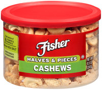 Fisher® Halves & Pieces Cashews 8.5 oz. Canister