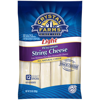 Crystal Farms® Light Mozzarella Wisconsin String Cheese 12 ct Pack
