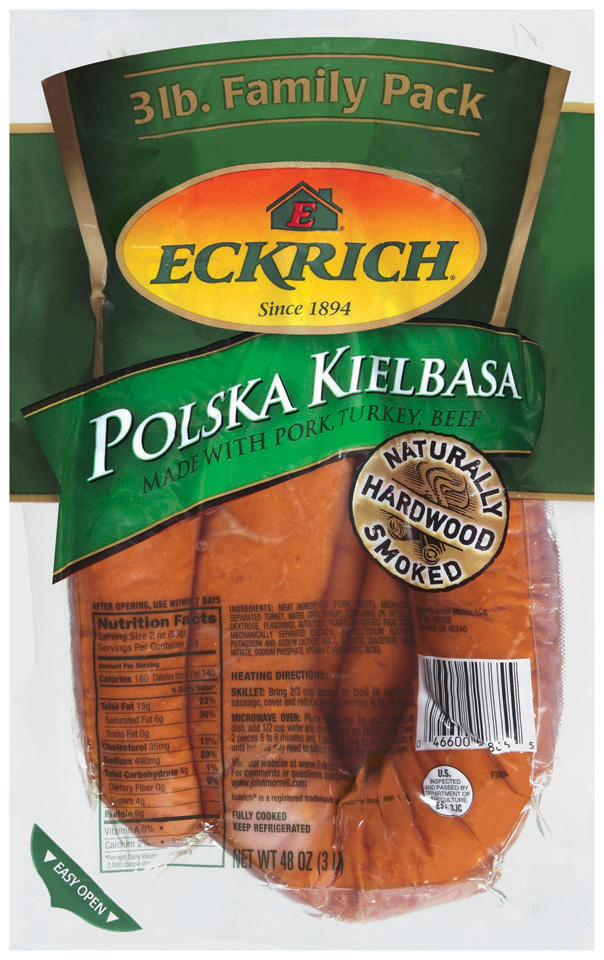 Eckrich Polska Kielbasa Family Pack Smoked Sausage Bulk 3 Lb