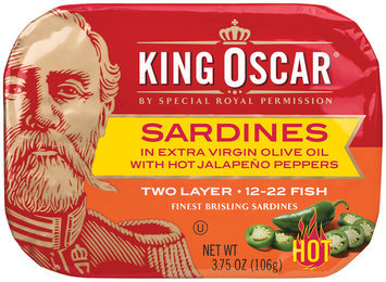 King Oscar® Two Layer Sardines with Hot Jalapeno Peppers in Extra Virgin Olive Oil 3.75 oz. Tin