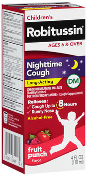 Robitussin® Children's Nighttime Long-Acting Fruit Punch Flavor Cough Relief DM Liquid 4 fl. oz. Box