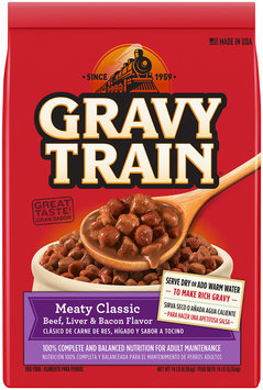 Gravy Train Meaty Classic Beef, Liver and Bacon Flavor Dry Dog Food, 14-Pound