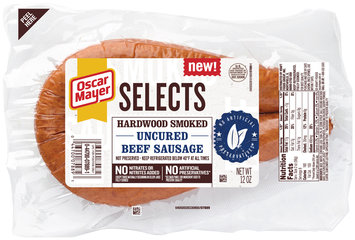 Oscar Mayer Selects Hardwood Smoked Uncured Beef Sausage 12 oz. Pack