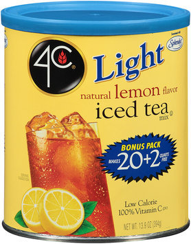 4C® Light Natural Lemon Flavor Iced Tea Mix 13.9 oz. Canister