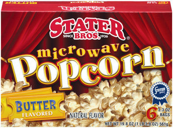 Stater Bros. Butter Flavored 3.3 Oz Bags Microwave Popcorn 6 Ct Box