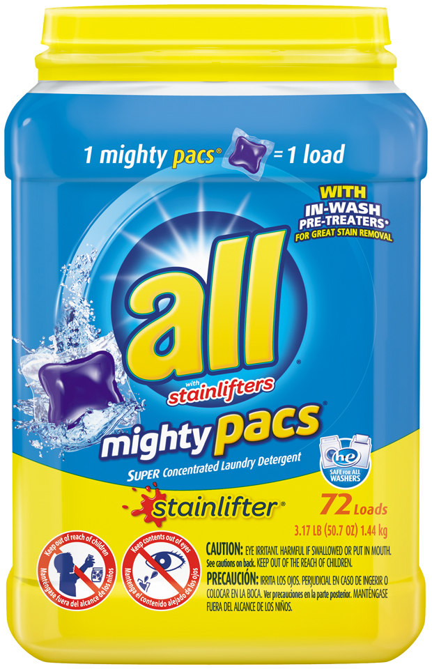 all® stainlifter® mighty pacs® Laundry Detergent 72 Loads 3.17 lb. Tub