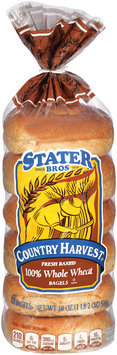 Stater Bros.® Country Harvest® 100% Whole Wheat Bagels 6 ct.