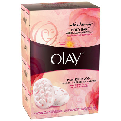 Olay Silky Berry Body Bar Soap with Massaging Design 2-4.25 oz. Bars