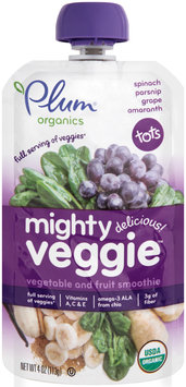 Plum® Organics Tots Mighty Veggie™ Spinach Parsnip Grape & Amaranth Vegetable & Fruit Smoothie 4 oz. Pouch