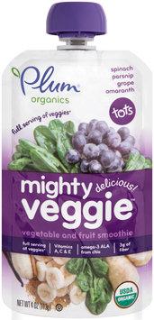 Plum® Organics Tots Mighty Veggie™ Spinach Parsnip Grape & Amaranth Vegetable & Fruit Smoothie 4 oz. Pouch