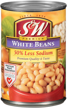 S&W® Premium 50% Less Sodium White Beans 15 oz. Can