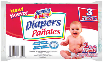 Special Value Medium 16-28 Lb Diapers 2 Ct Package