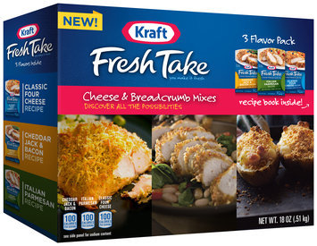Kraft Fresh Take Classic Four Cheese Recipe/Cheddar Jack & Bacon Recipe/Italian Parmesan Recipe Cheese & Breadcrumb Mixes Variety Pack 18 oz. Box