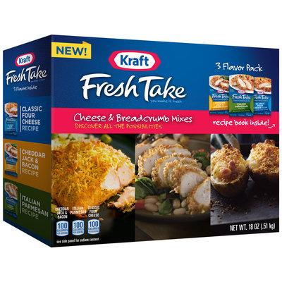 Kraft Fresh Take Classic Four Cheese Recipe/Cheddar Jack & Bacon Recipe/Italian Parmesan Recipe Cheese & Breadcrumb Mixes Variety Pack 18 oz. Box