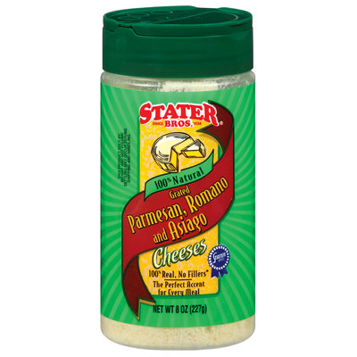 Stater Bros. Grated Parmesan Romano & Asiago Cheeses 8 Oz Shaker