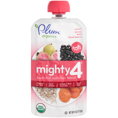 Plum® Organics Tots Mighty 4™ Carrot Guava Oats & Black Beans Essential Nutrition Blend 4 oz. Pouch
