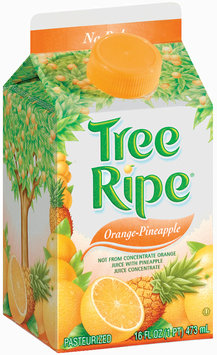 Tree Ripe Premium Natural Pineapple Orange Juice 16 Oz Carton Not from Concentrate