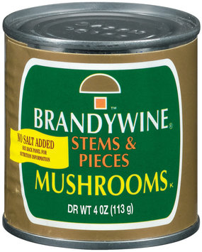 Brandywine Stems & Pieces No Salt Added Mushrooms 4 Oz Can