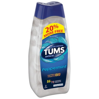 Tums® Ultra Strength 1000 Peppermint Antacid/Calcium Supplement Tablets 86 ct Bottle