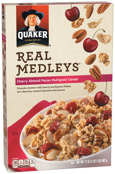 Quaker® Real Medleys® Cherry Almond Pecan Multigrain Cereal 17 oz. Box