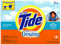 Tide Ultra Plus Touch of Downy Clean Breeze Scent Powder Laundry Detergent 57 oz. Box