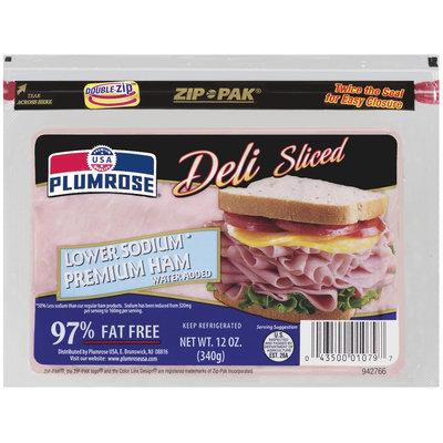 Plumrose Premium Sliced Lower Sodium Ham 12 Oz Zip Pak