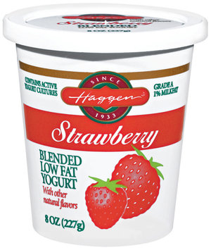 Haggen Strawberry Blended Low Fat Yogurt 8 Oz Cup