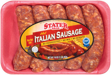 Stater Bros. Hot Italian 16 Oz Sausage 5 Ct Tray