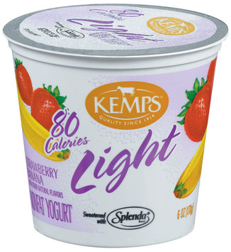 Kemps Light Strawberry Banana Nonfat Yogurt 6 Oz Cup