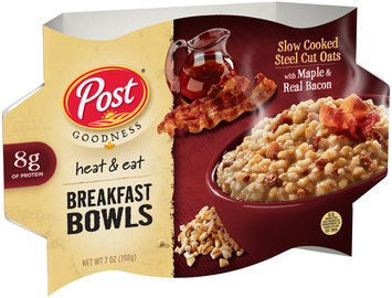 Post® Goodness Heat & Eat Slow Cooked Steel Cut Oats with Maple & Real Bacon Breakfast Bowls 7 oz. Bowl