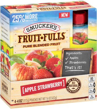 Smucker's® Fruit-Fulls™ Apple Strawberry Pure Blended Fruit 4-4 oz. Pouches