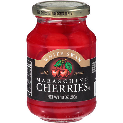 White Swan® Maraschino Cherries with Stems 10 oz. Jar